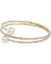 River Island Gold Tone Diamante Wrapped Coil Bracelet - Lyst