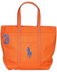 2b13e83d2d63 Ralph Lauren Orange Canvas Pony Slim Handbag - Jaimonvoyage.com