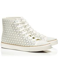 Tory Burch Floral Perforated High-top Sneaker - Lyst