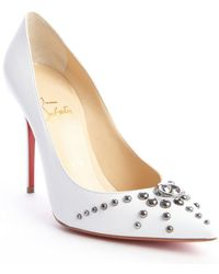 Christian Louboutin White Leather Door Knock 100 Studded Pointed Toe Pumps - Lyst