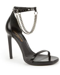 Saint Laurent Jane Chained Leather Harness Sandals black - Lyst