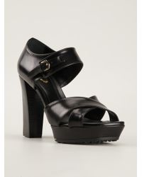 Tod's Black Strappy Sandals - Lyst