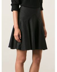 Ralph Lauren Black Gray Flared Skirt - Lyst