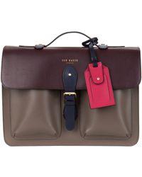 Ted Baker Colour Block Leather Satchel Bag - Lyst