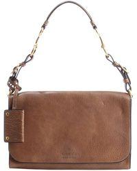 Gucci Maple Brown Leather Logo Stamp Shoulder Bag - Lyst