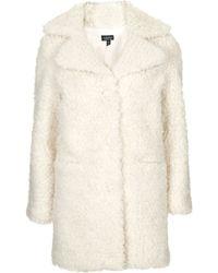 Topshop Faux Fur Teddy Coat  Cream - Lyst