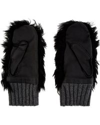Marni Black Shearling Fur and Cashmere Mittens - Lyst