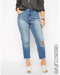 Asos Curve Mom Jean In Vintage Blue - Lyst