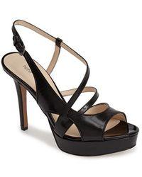 Nine West 'So True' Leather Platform Sandal black - Lyst