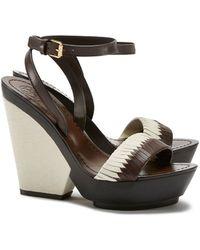 Tory Burch Bi-Color Woven Wedge Sandal - Lyst