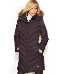 Kenneth cole Faux-fur-trim Chevron Quilted Down Coat in Brown   Lyst