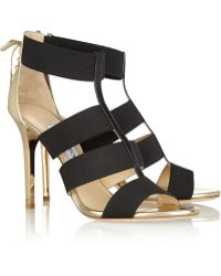 Jimmy Choo Dario Elastic And Mirrored-Leather Sandals - Lyst