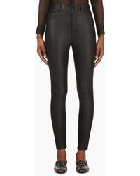 Saint Laurent Leather Skinny High Waist Trousers - Lyst
