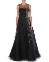 Oscar de la Renta Beaded Silk Gown Black - Lyst