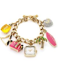 Juicy Couture Womens Glam Charm Gold Ionplated Stainless Steel Bracelet 24mm - Lyst