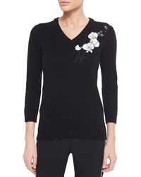 Fendi Cashmere Floral-Embroidered Sweater - Lyst