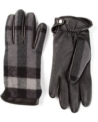 Burberry Panelled Charcoal Check Gloves - Lyst