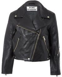 Acne Studios Rita Boxy Leather Biker Jacket - Lyst