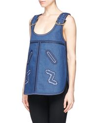Stella McCartney Horseshoe Buckle Embroidery Denim Top blue - Lyst