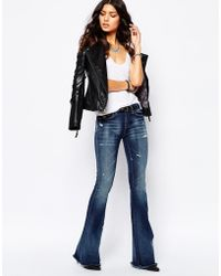 Blank Skinny Bell Bottom Flare Jeans With Raw Hem in Blue | Lyst