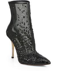 Oscar de la Renta Camille Embroidered & Embellished Mesh Booties - Lyst