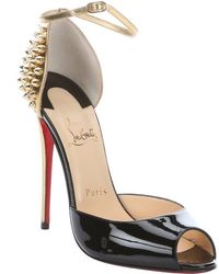 Christian Louboutin Black and Gold Patent Leather Pina Spike Studded Peep Toe Pumps - Lyst