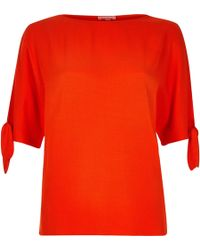 River Island | Orange Split Sleeve T-shirt | Lyst