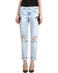 Amen Denim Jeans With Leather And Stone Applications - Lyst