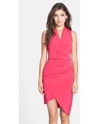 Nicole Miller Asymmetrical Crepe Faux Wrap Dress pink - Lyst