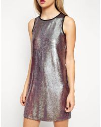 Asos Iridescent Sequin Dress - Lyst