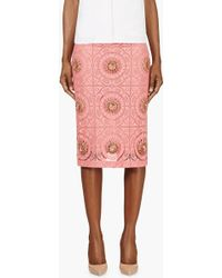Burberry Prorsum Pink Lace Overlay Embellished Pencil Skirt - Lyst