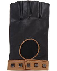 BCBGMAXAZRIA Icon Studded Color-blocked Motorcycle Gloves - Lyst