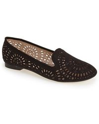 Topshop 'Misty' Perforated Flat black - Lyst
