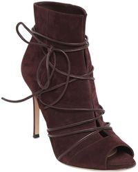 Gianvito Rossi 100Mm Suede Lace-Up Ankle Boots purple - Lyst