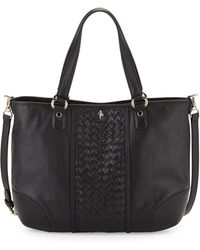 Cole Haan Devin Woven Leather Tote Bag Black - Lyst