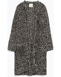 Zara Frayed-Edge Coat With Pockets black - Lyst