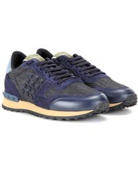Valentino | Rockrunner Denim, Leather And Suede Sneakers | Lyst