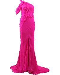 Oscar de la Renta Crinkle Chiffon Gown pink - Lyst