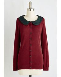 ModCloth | Dual And The Gang Cardigan In Burgundy | Lyst