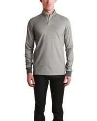Blue&Cream Long Sleeve Military Polo gray - Lyst