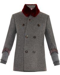 Undercover - Fur-collar Wool-blend Coat - Lyst