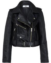 Hide - Black Freja Pony Panel Leather Biker Jacket - Lyst