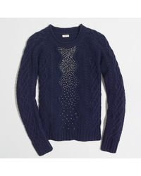 J.Crew Factory Embellished Cable-knit Sweater - Lyst