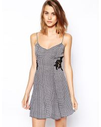 Asos Sundress in Gingham with Lace Insert - Lyst