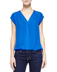 Joie Marcher Pintucked Cap-sleeve Blouse - Lyst