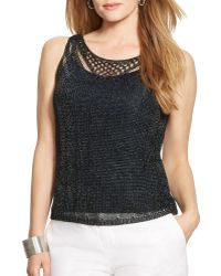 Ralph Lauren Lauren Plus Metallic Pointelle Knit Tank - Lyst