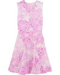 Giambattista Valli Fluted Printed Silk-georgette Dress - Lyst