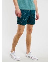 Topman Teal Crescent Chino Shorts - Lyst