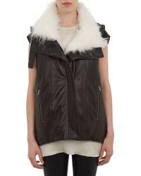 Helmut Lang Fur-Trim Quilted Leather Vest - Lyst