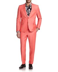 Versace Solid Coral Suit pink - Lyst